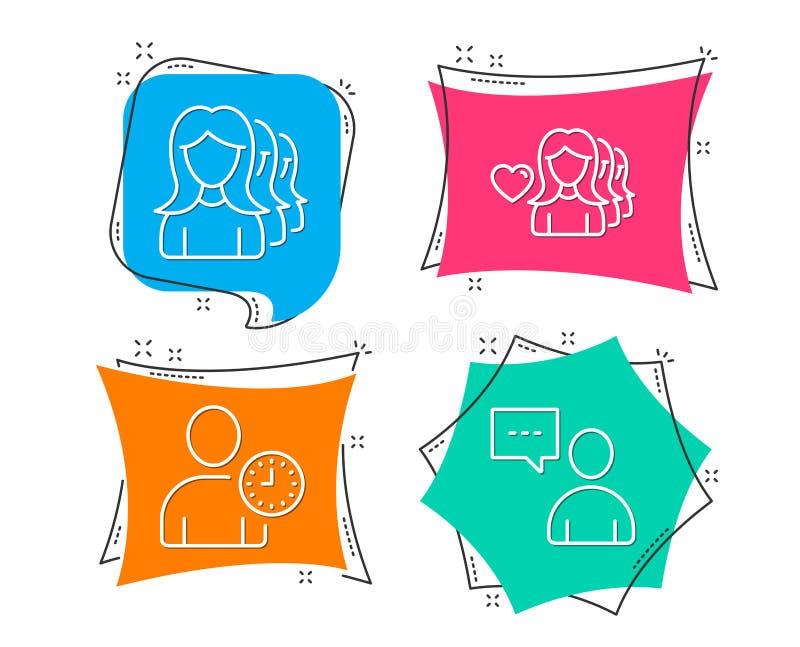 Kobiety miłość, czasu zarządzanie i kobiety headhunting ikony, Użytkownik gadki znak ilustracja wektor