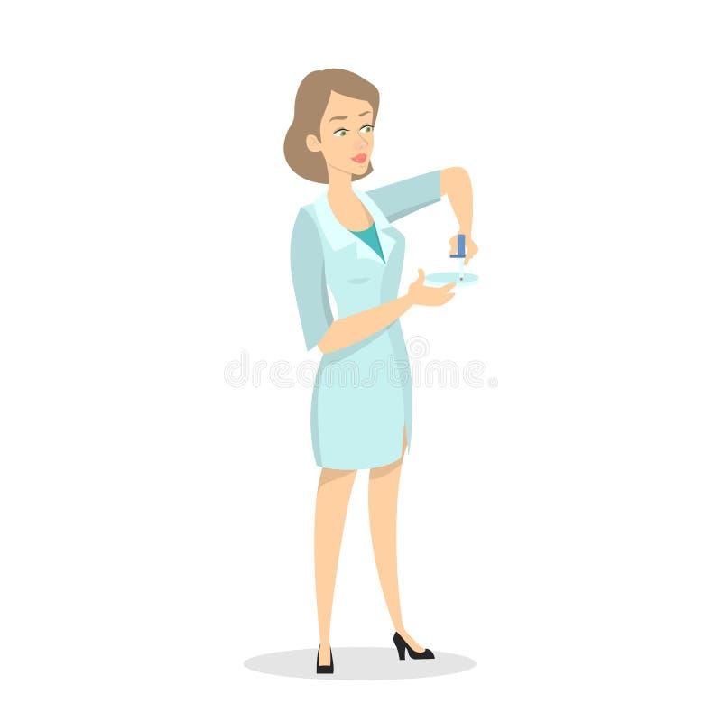 Kobiety mienia badania krwi doktorska tubka ilustracja wektor