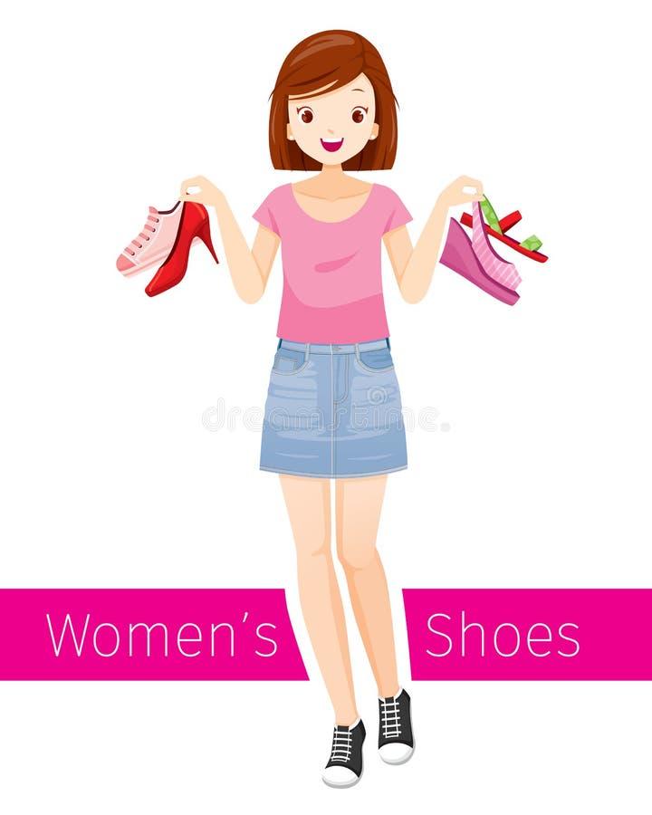 Kobiety mienia buty Ona Jest ubranym Krótką Jean spódnicę, tenisówka I ilustracja wektor