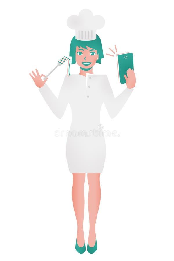 Kobiety mienia kucbarski rozwidlenie i telefon komórkowy ilustracja wektor