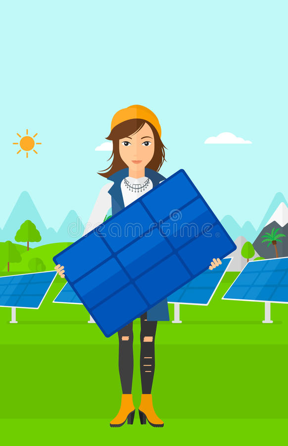 Kobiety mienia panel słoneczny ilustracji
