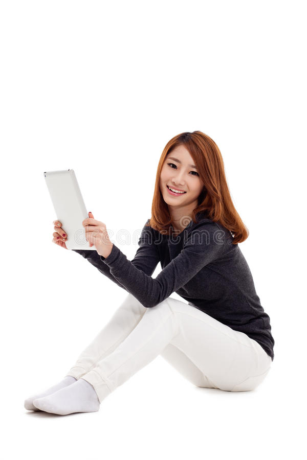 Kobiety mienia pastylki komputer. zdjęcia stock