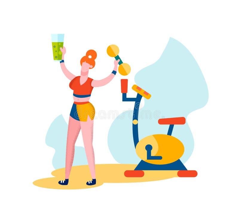 Kobiety mienia Smoothies w ręce i Dumbbell ilustracji