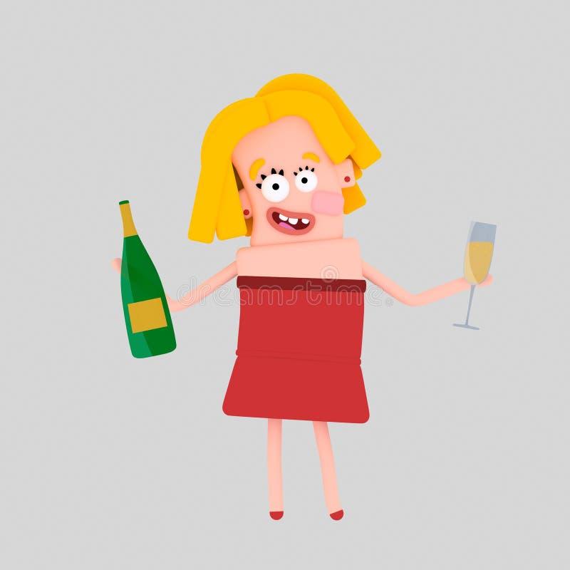 Kobiety mienia szampańska butelka i szkło 3d ilustracji