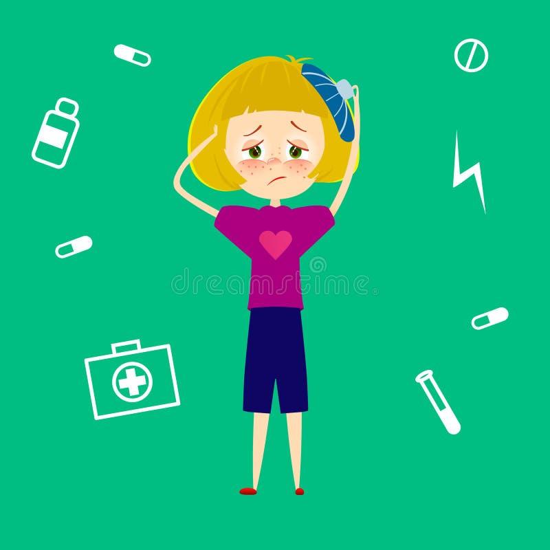 Kobiety migrena Chora młoda dziewczyna z migreną męcząca, odczucie cierpienie od stresu i ból, i Dziecko z febrą i ilustracji