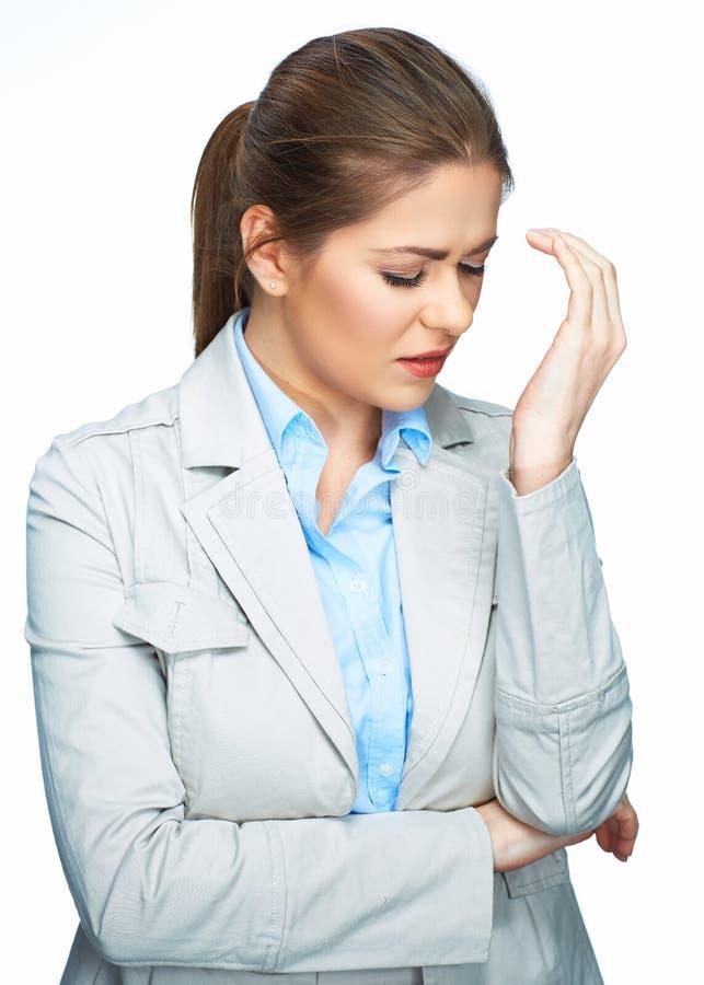Kobiety migreny portret, dotyka głowę kobieta jednostek gospodarczych obraz stock