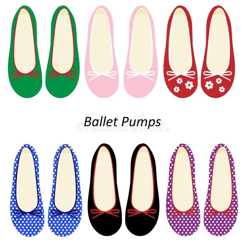 Kobiety Moda Kuje Baletnicze Pompy ilustracja wektor