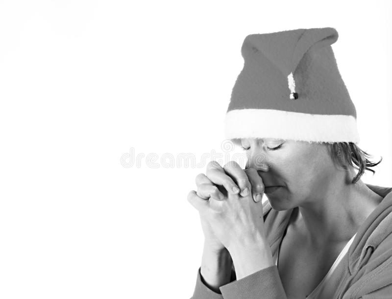 Kobiety modlenie z rękami wpólnie obraz stock
