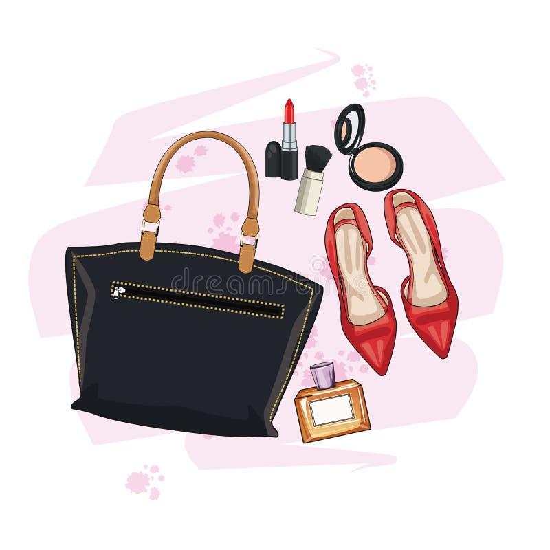 Kobiety mody akcesoria i uzupełniali ilustracja wektor