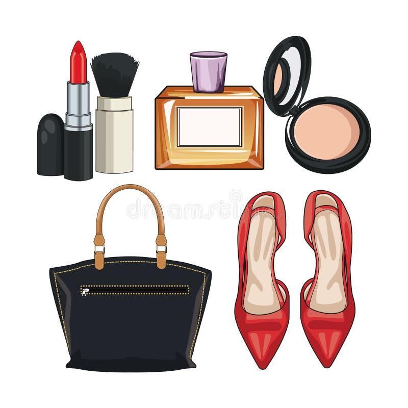 Kobiety mody akcesoria i uzupełniali royalty ilustracja