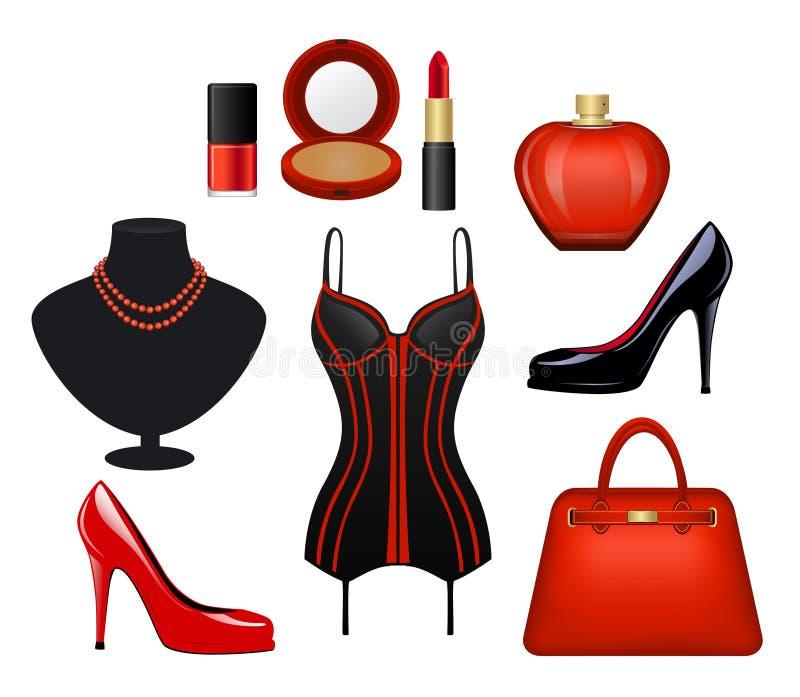 Kobiety mody akcesoria Ustawiający ilustracja wektor