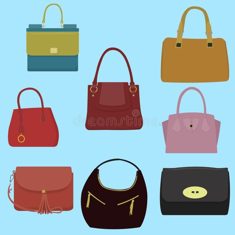 Kobiety mody kolekcja torby ilustracja wektor