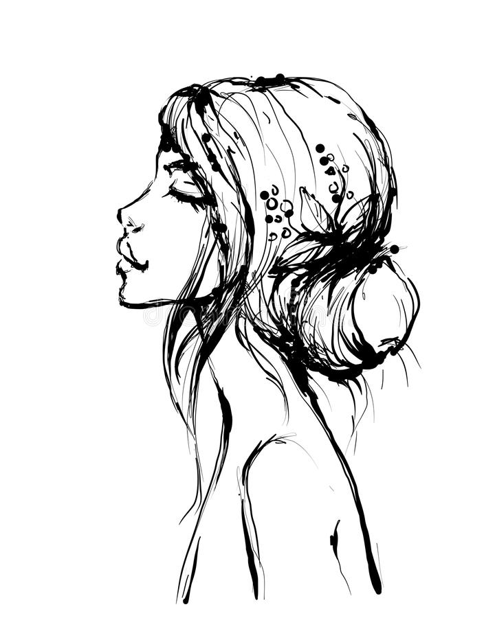 Kobiety mody modela kobiety piękny profil i ślubna fryzura z liśćmi i jagodami, wektorowy inky styl ilustracji