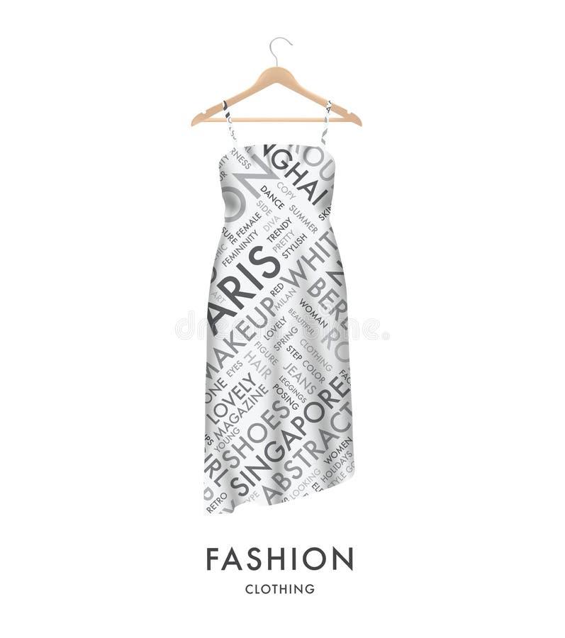 Kobiety mody suknia z modnym tekst typografii wektorem Łatwy redagować royalty ilustracja