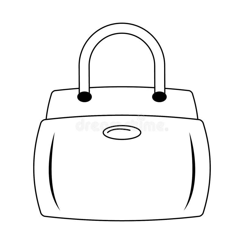 Kobiety mody torby accesorie kreskówka odizolowywająca w czarny i biały ilustracji