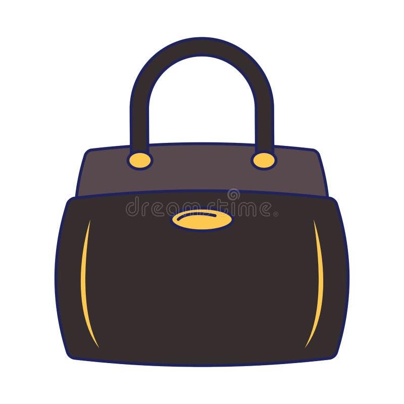 Kobiety mody torby accesorie kreskówki odosobnione niebieskie linie ilustracja wektor