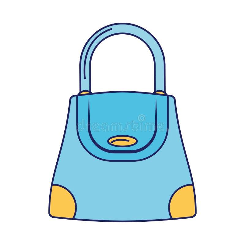 Kobiety mody torby accesorie kresk?wki odosobnione niebieskie linie ilustracja wektor