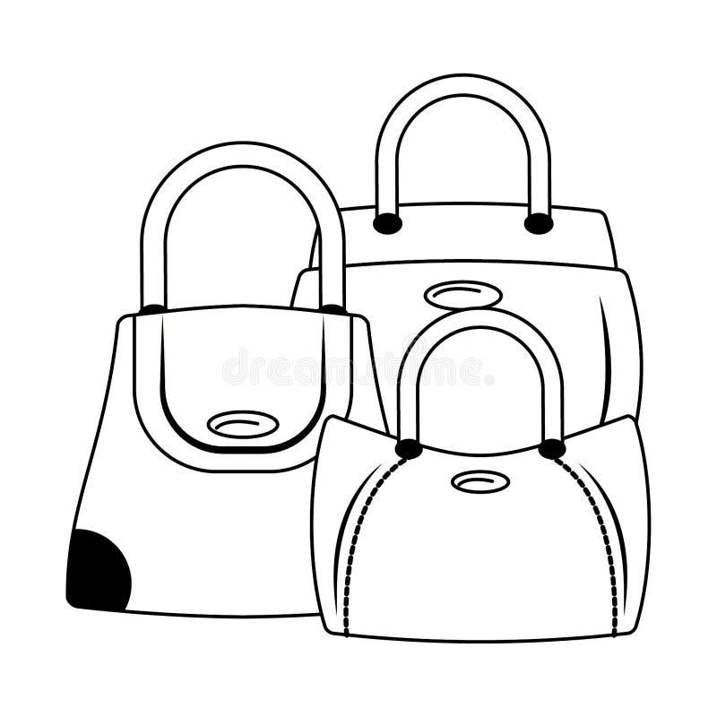 Kobiety mody torby kreskówka odizolowywająca w czarny i biały royalty ilustracja