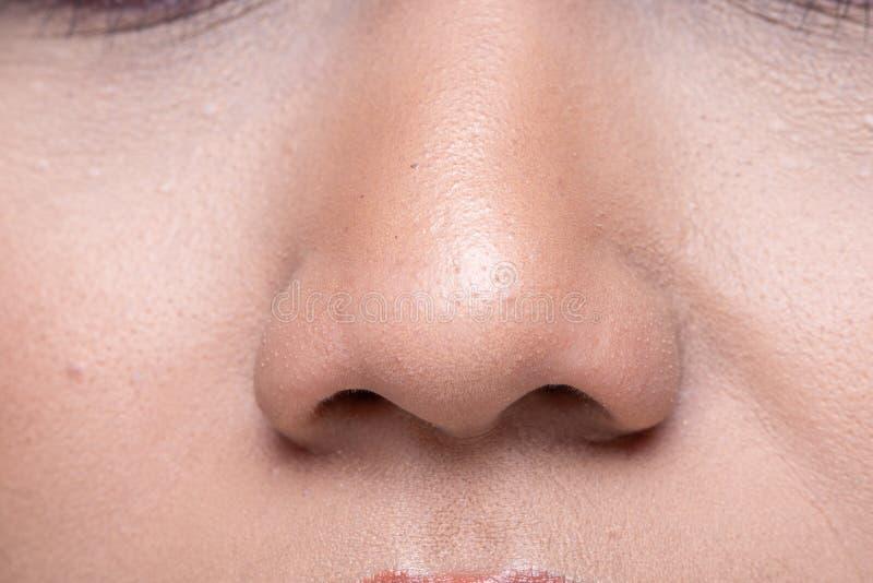 Kobiety mody wargi nosa czerwona skóra obrazy stock