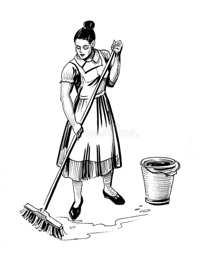 Kobiety Mopping podłoga ilustracja wektor
