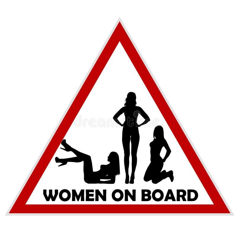 Kobiety na pokładzie znaka ostrzegawczego ilustracja wektor