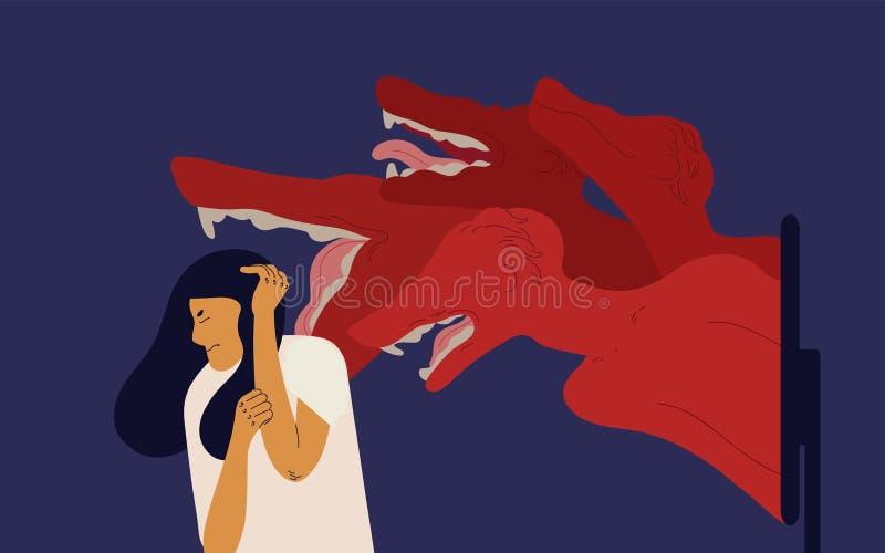 Kobiety nakrycia głowa z rękami z strachem i okropnymi potworami przychodzi z ekranu komputerowego Pojęcie cyberbullying royalty ilustracja
