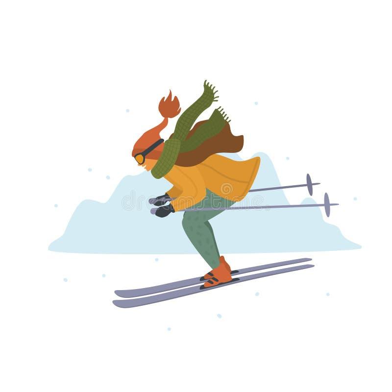 Kobiety narciarstwo zjazdowy w zim gór kurortu kreskówce odizolowywał wektorową ilustrację ilustracji