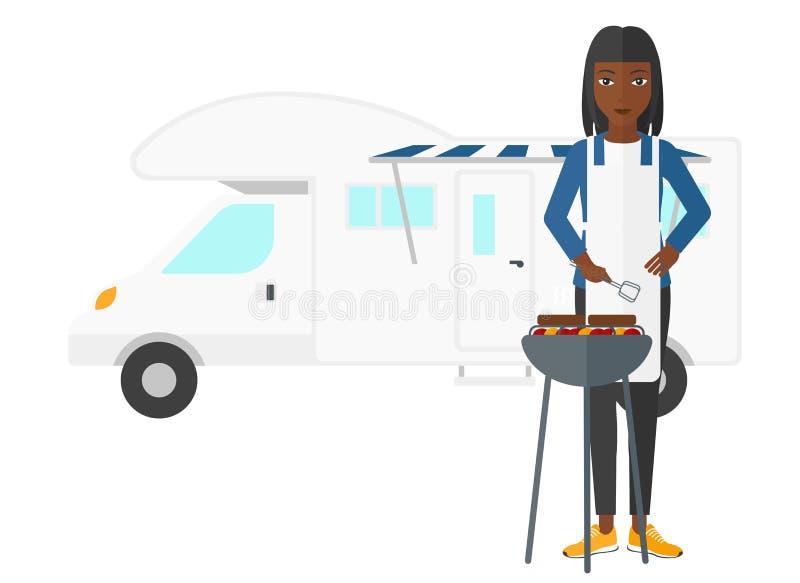 Kobiety narządzania grill ilustracja wektor