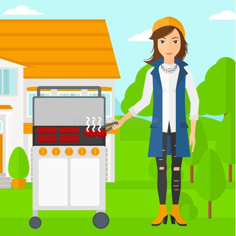 Kobiety narządzania grill ilustracji