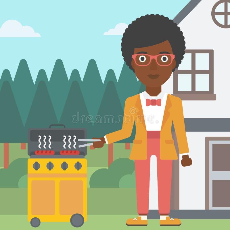 Kobiety narządzania grill royalty ilustracja