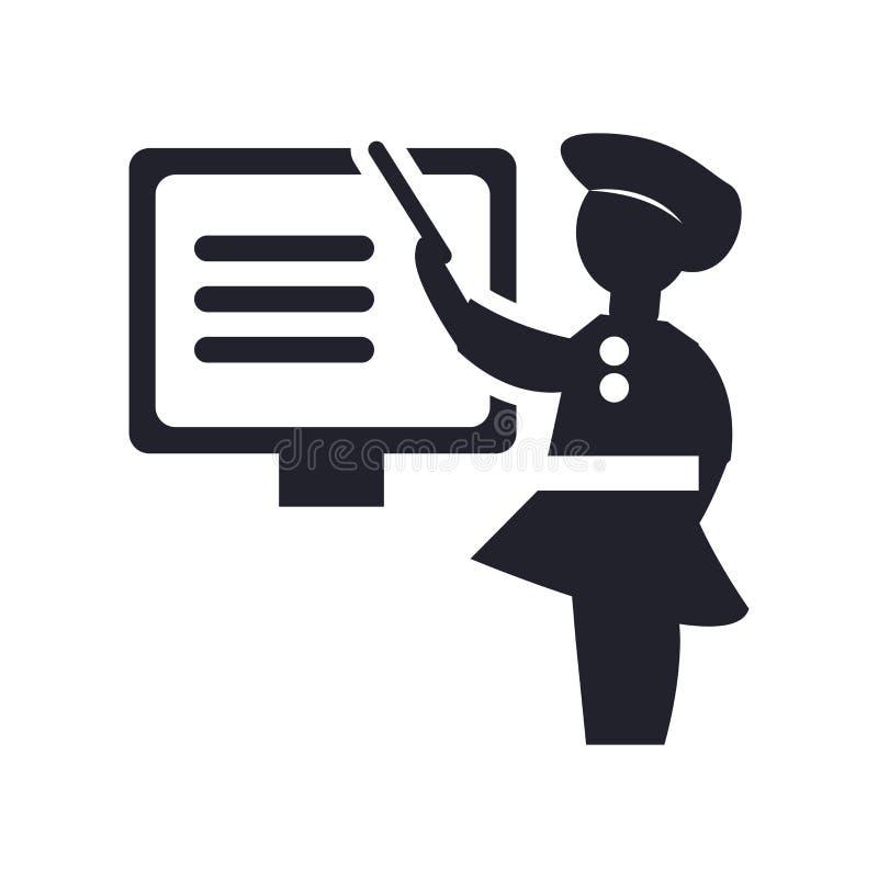 Kobiety nauczania ikony wektoru znak i symbol odizolowywający na białym bac ilustracja wektor