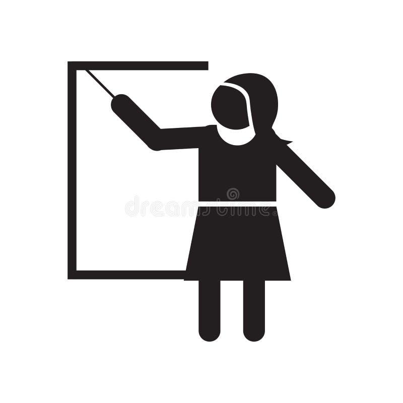 Kobiety nauczania ikony wektoru znak i symbol odizolowywający na białym tle, kobiety nauczania logo pojęcie ilustracji