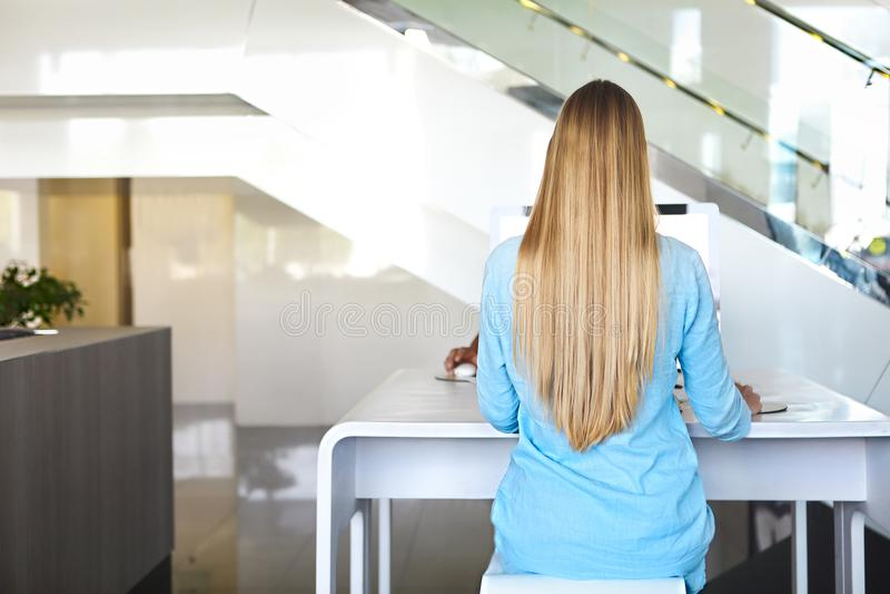 Kobiety obsiadania plecy przy stołem komputerem odosobniony tylni widok biel zdjęcie royalty free