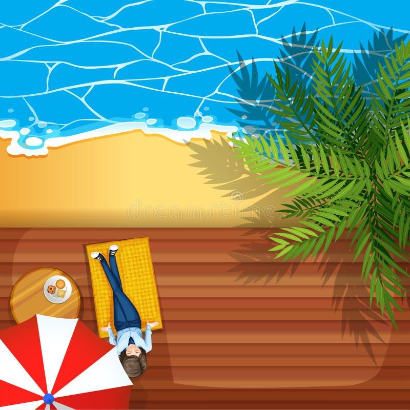 Download Kobiety obsiadanie plażą ilustracja wektor. Ilustracja złożonej z ocean - 57657095