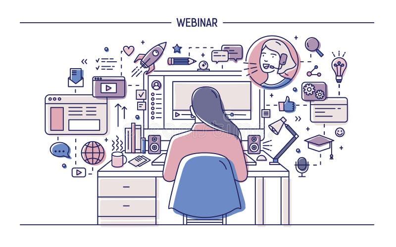 Kobiety obsiadanie przy biurkiem z komputerem otaczającym sieć symbolami, piktogramy, dopatrywanie i słuchanie webinar ilustracji