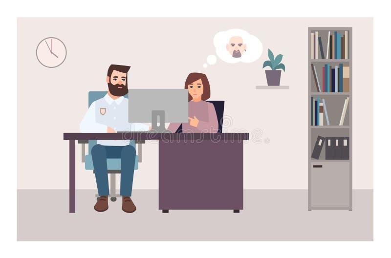 Kobiety obsiadanie przy biurkiem z policjantem patrzeje ekran komputerowego i próbuje utożsamiać kryminalną używa fotografię, prz ilustracji