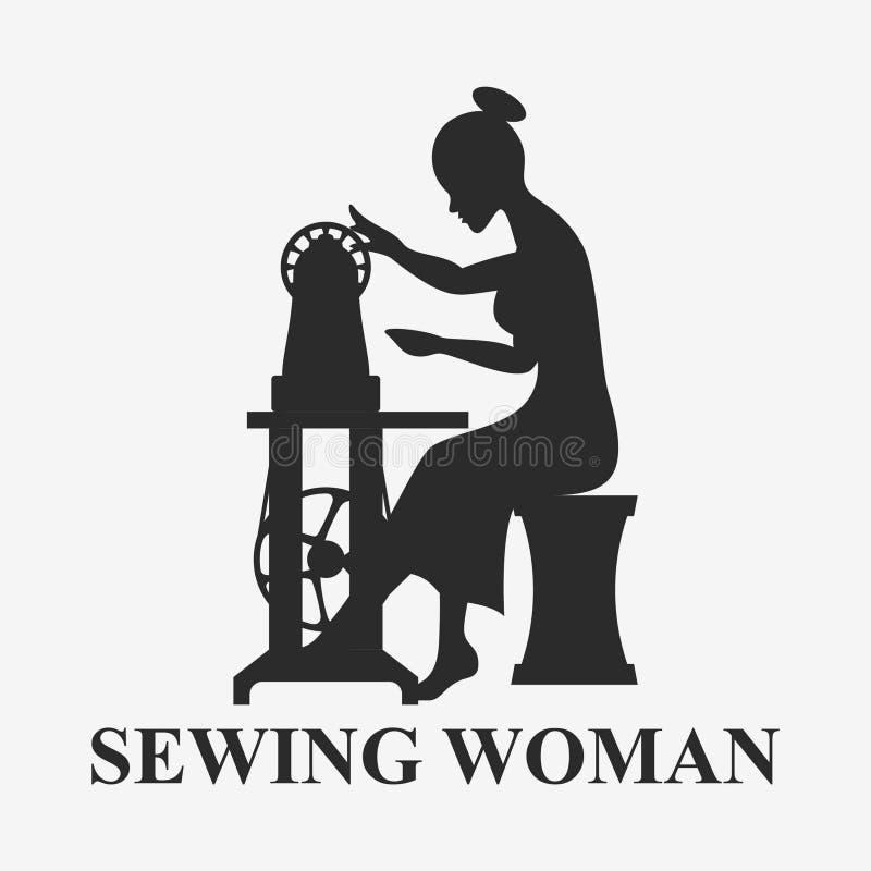 Kobiety obsiadanie z szwalną maszyną ilustracja wektor