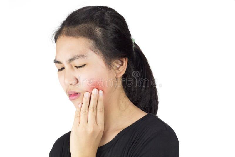 Kobiety odczucia toothache fotografia royalty free
