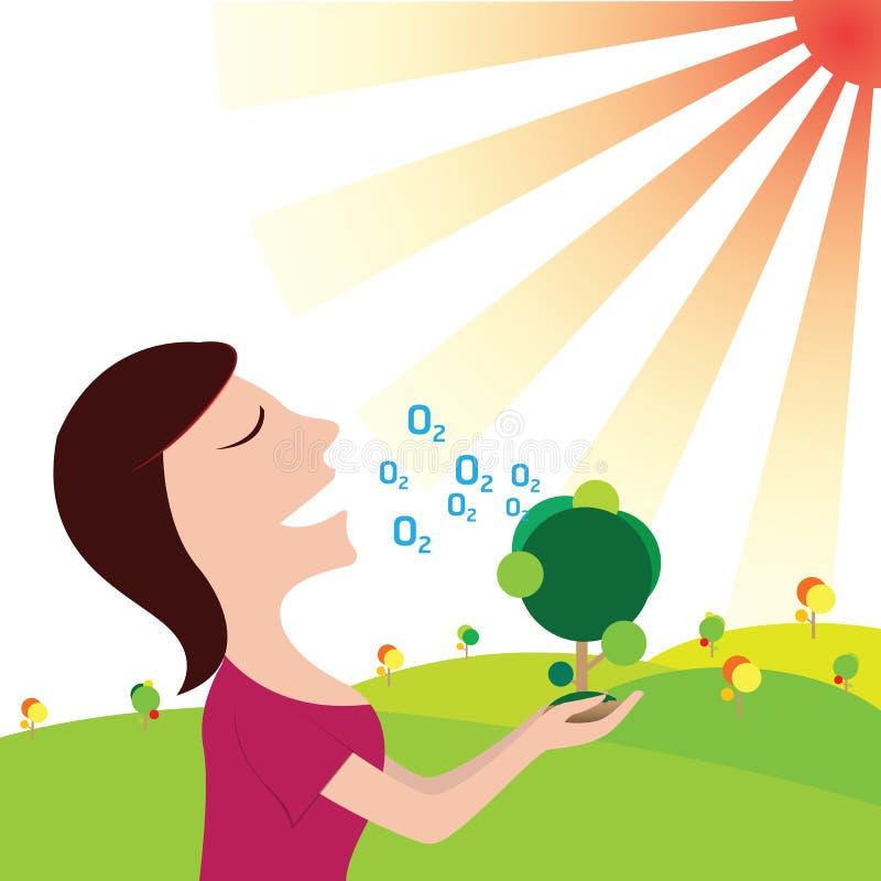 Kobiety oddychają tlen w czystej naturze uratować ziemię ilustracja wektor