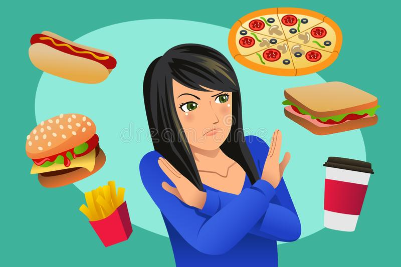 Kobiety odmawiania fasta food kuszenia ilustracja ilustracji