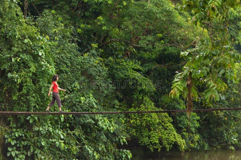 Kobiety odprowadzenie na drewnianym moscie zdjęcia royalty free