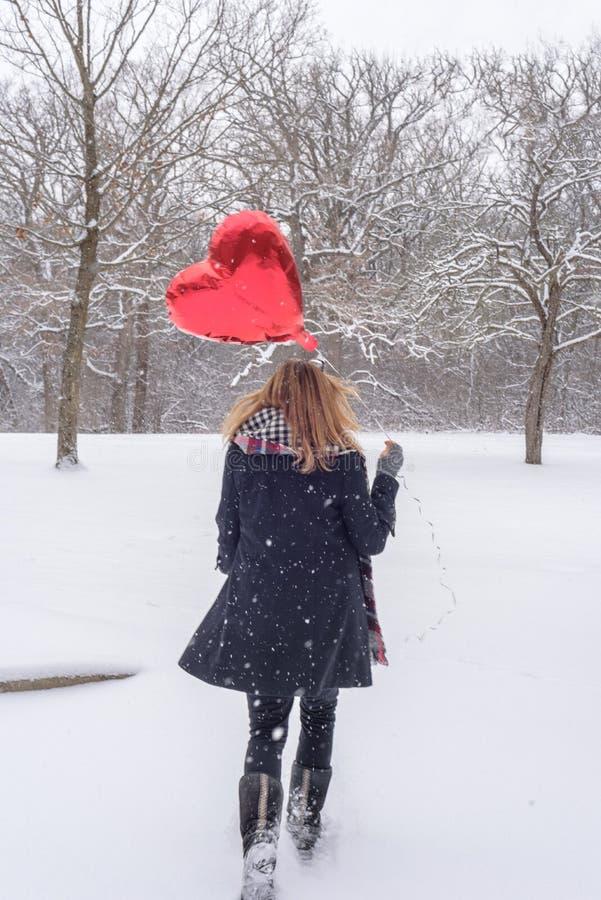 kobiety odprowadzenie w drewna na śnieżnym Luty dniu trzyma czerwień h zdjęcie royalty free