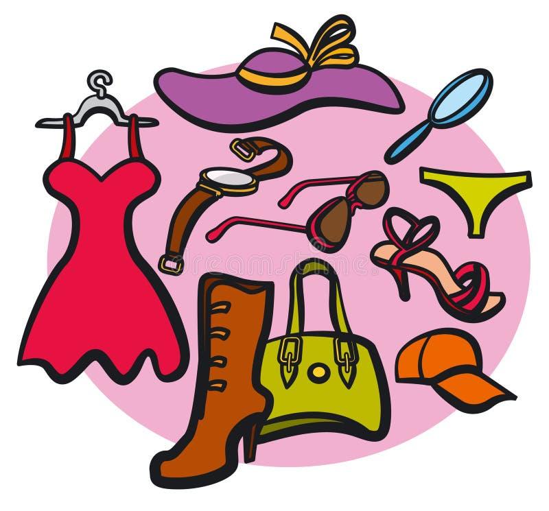 Kobiety odzieżowe i akcesoria ilustracja wektor