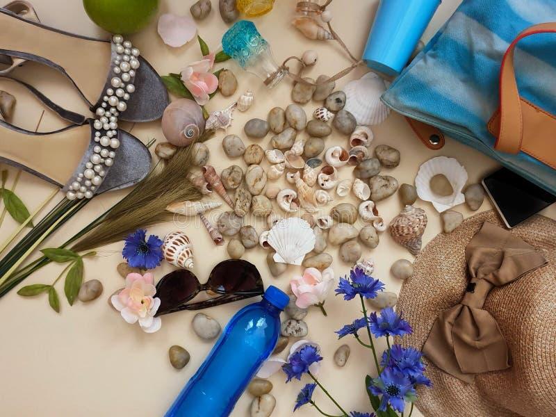 Kobiety odzieżowy beachwear dla wakacyjnych leisuare czasu wolnego podróży akcesoriów seashell okularów przeciwsłonecznych smartp zdjęcie royalty free
