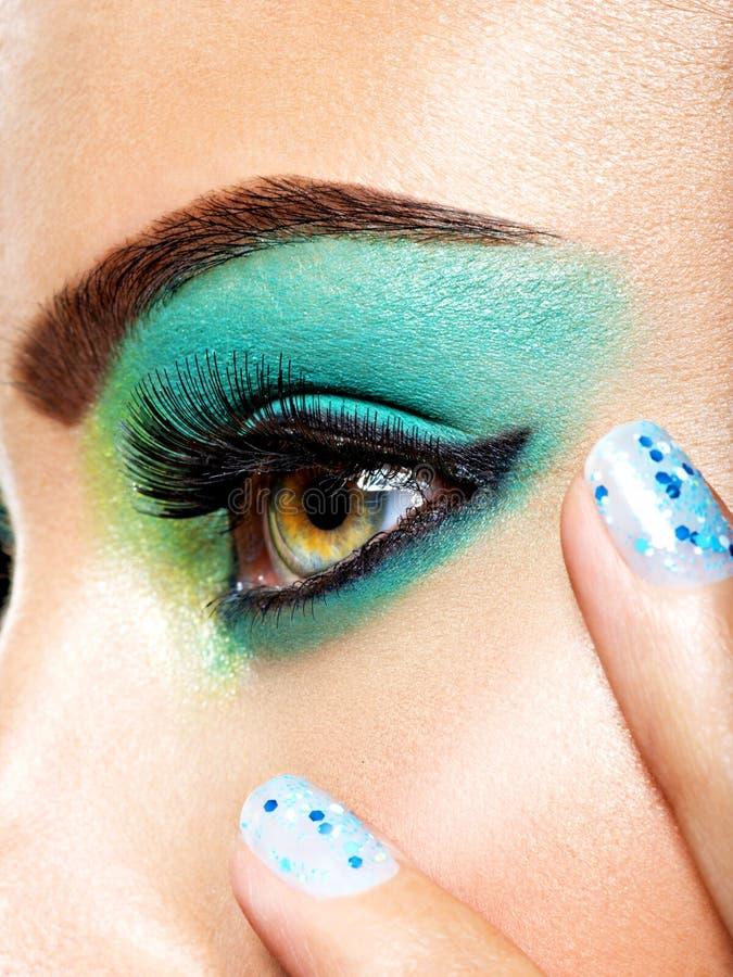 Kobiety oka makijażu zieleni żywa moda zdjęcia stock
