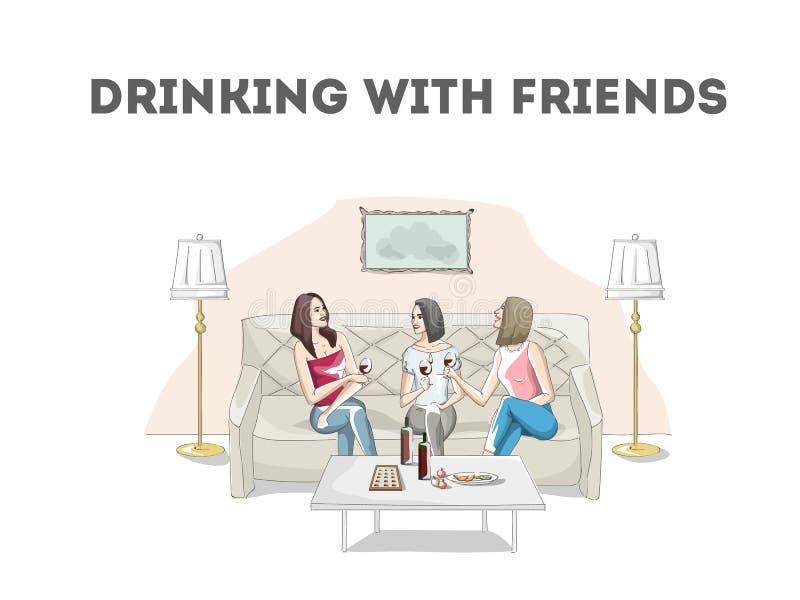 Kobiety opowiada wino i pije w restauraci ilustracji