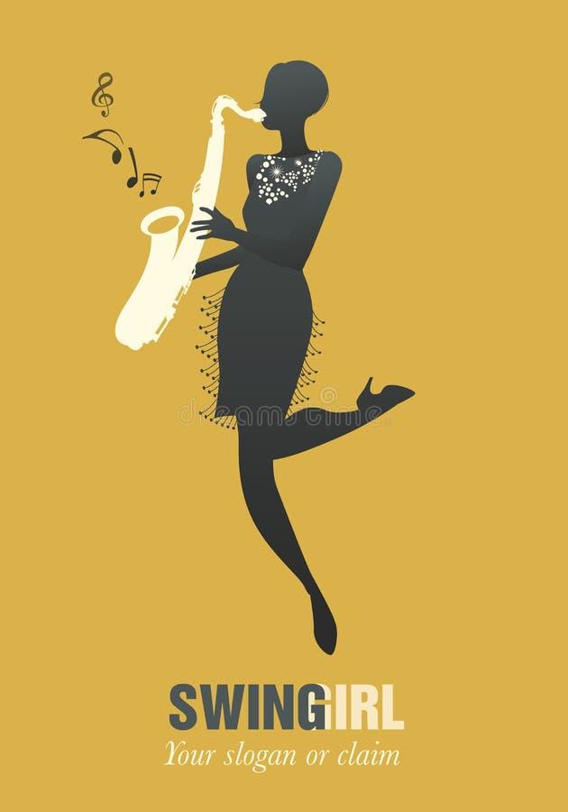 Kobiety orkiestry sylwetka bawić się saksofon ilustracji