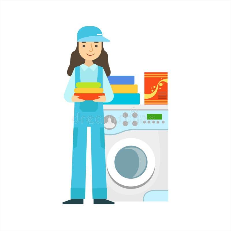 Kobiety Płuczkowa odzież W pralce, Cleaning Usługowy Fachowy Cleaner W Jednolitym Cleaning W gospodarstwie domowym ilustracji