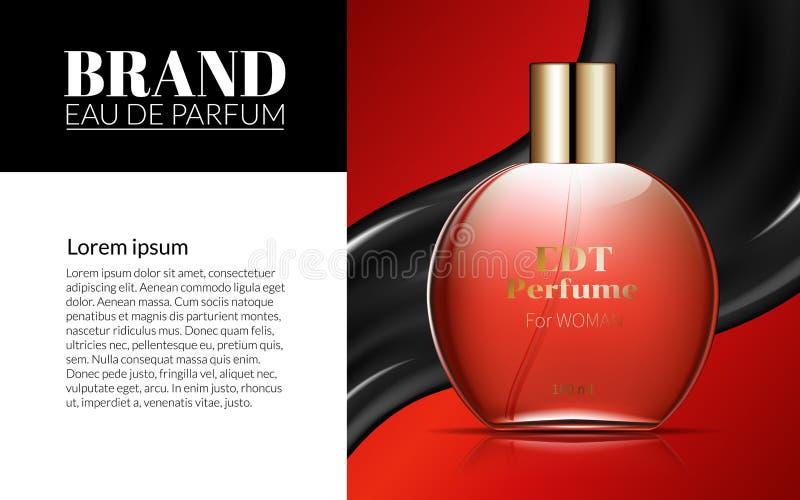 Kobiety pachnidła Szklanej butelki Znakomitych reklam Atrakcyjny Kosmetyczny pakunek na Czarnym Czerwonym tle Projekta produkt pr ilustracji