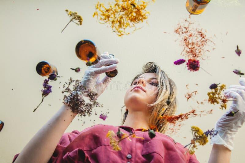 Kobiety perfumer narządzania kwiaty dla i ziele robią pachnidłu obraz stock